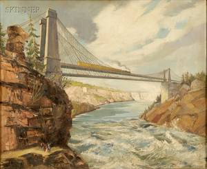 Attributed to Ralston Carlton Thompson American 19041975 A View of the Train Crossing the River