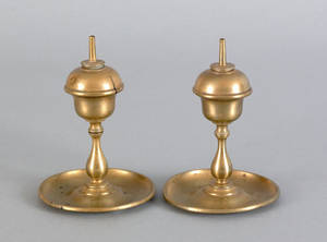 Pair of brass sparking lamps mid 19th c