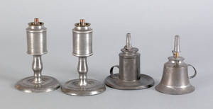 Four pewter sparking lamps mid 19th c