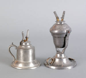 Two New York pewter fluid lamps mid 19th c