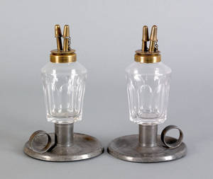 Pair of American fluid lamps mid 19th c