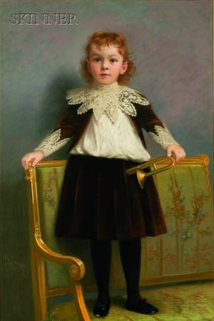 James Wells Champney American 18431903 Portrait of a Young Boy Holding a Trumpet