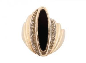 Ladies 14k Gold Black Onyx and Diamond Ring