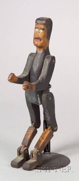 Folk Carved and Painted Wooden Articulated Figure of a Boxer