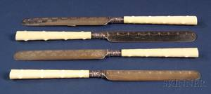 Set of Twelve Continental Ivoryhandled Silver and Silver Plate Dessert Knives