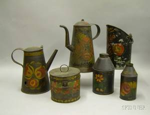 Six Paintdecorated Toleware Items