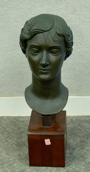 Patinated Metal Bust of a Woman on a Wooden Base