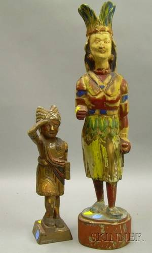 Two Carved and Painted Wooden Cigar Store Indian Retail Counter Figures