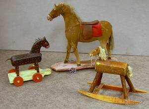 Childs Hideclad Riding Horse Pulltoy a Small Wooden Rocking Horse and a Folk Carved and Painted Wooden Hor