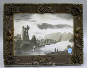 Framed Charcoal on Sandpaper Picture of a Castle and Lake