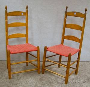 Two Shaker Maple Slatback Side Chairs with Woven Tape Seats