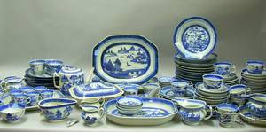 Approximately 125 Pieces of Mostly Chinese Export Porcelain Blue and White Canton Tableware