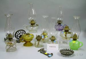 Approximately Twentyeight Colorless Pressed Glass Kerosene Lamps