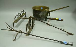 Bronze Posnet Two Wrought Iron Toasters and a Wrought Iron Footed Toasting Fork