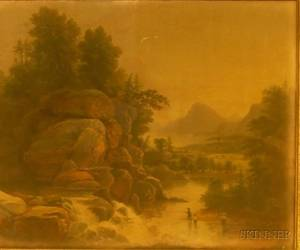 Framed 19th Century American School Oil on Canvas Depicting Anglers in a Rocky Landscape