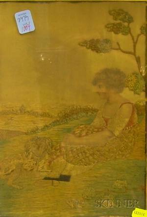 Giltwood Framed Eglomiselined Silk Needlework Panel Depicting a Girl with a Dog
