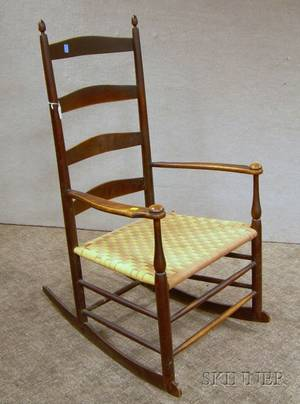 Shaker Production No 6 Stained Maple Slatback Armrocker with Woven Tape Seat