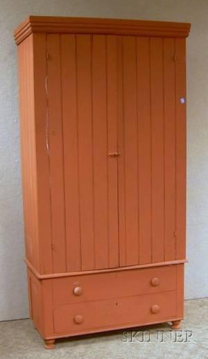 Redpainted Beadboard TwoDoor Wardrobe Cabinet over Two Long Drawers