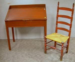 Federal Redpainted Poplar Slantlid Schoolmasters Desk and Redpainted Slatback Side Chair with Woven Splint