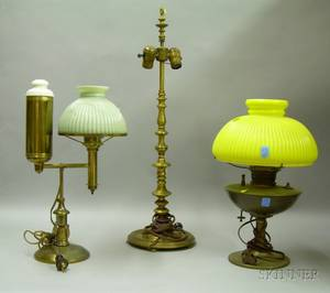 Brass Student Lamp with Cased Pale Green Glass Shade an AJ Tuck Co Ringturned Bronze Table Lamp and a Bra
