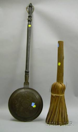 Copper Bedwarmer with TurnedWooden Handle and a Native American Splint Broom