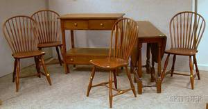 Arts  Crafts Oak Server a Set of Four Windsorstyle Oak Bowback Side Chairs and a William  Mary Style Oak