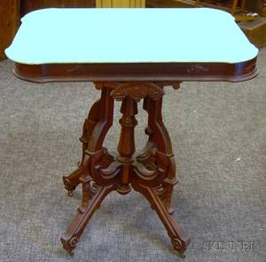 Victorian Renaissance Revival White Marbletop Walnut Occasional Table