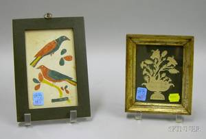 Painted Wooden Framed Pencil and Watercolor of Birds on Branch and a Giltwood Framed Gift of Friendship Minia