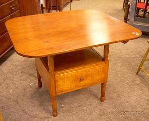 Pine and Maple Hutch Table with Drawer