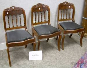 Set of Six Gothic Revival Carved Mahogany and Mahogany Veneer Side Chairs with Horsehair Upholstered Drop Seats