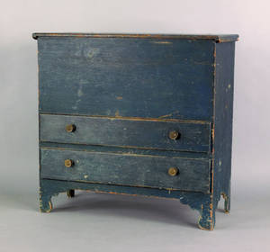 New England painted pine mule chest late 18th c