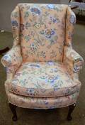 Queen Anne Style Upholstered Mahoganyfinished Easy Chair