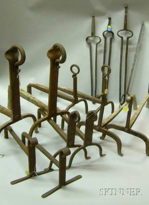 Five Pairs of Wrought Iron Andirons Three Wrought Iron Fireplace Tongs and a Hearth Fork