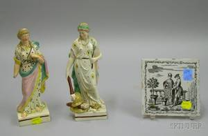 Two English Staffordshire Figures and a Continental Transfer Decorated Tile