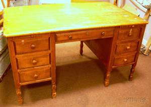Colonial Revival Maple Flattop DoublePedestal Desk