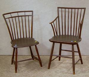 Brownpainted Windsor Rodback Armchair and a Brownpainted Windsor Birdcage Side Chair