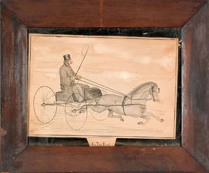 American watercolor and pencil drawing of a horse and sulky late 19th c