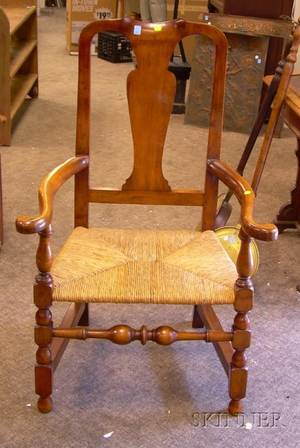 Queen Anne Style Maple Armchair with Rush Seat