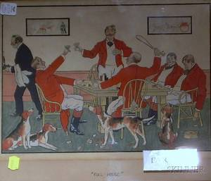 Two Framed and One Unframed English 20th Century Watercolor and Ink Works on Paper Depicting Gaming Scenes