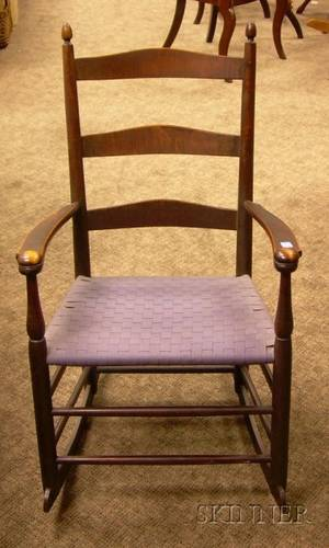 Shaker Production No 3 Stained Maple Slatback Armrocker with Woven Tape Seat