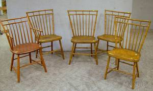 Set of Four Windsor Birdcage Faux Bambooturned Side Chairs and a Windsor Birdcage Armchair