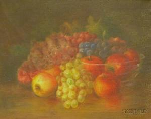Framed 19th Century American Oil on Canvas Still Life of Fruit