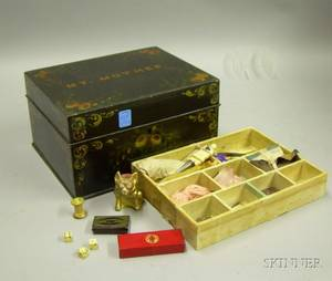 MidVictorian Black Painted Sewing Box