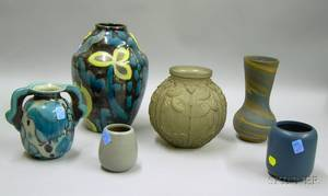 Five Art Pottery Vases and an Art Deco Glass Vase