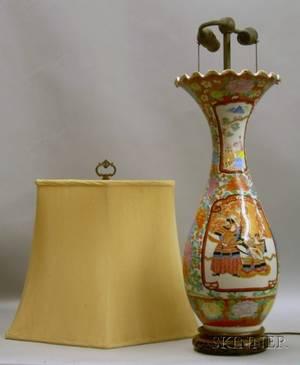 Japanese Enameldecorated Porcelain Vase Table Lamp with Silk Shade