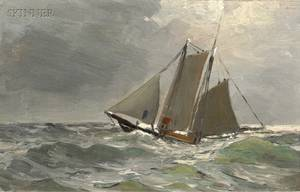 Parker S Perkins American 18621942 Lot of Two Seascapes A Bit of Shore Cape Ann