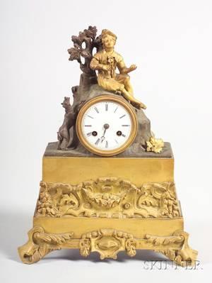 Louis Philippe Parcel Gilt Bronze Mantel Clock