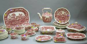 Fiftynine Piece Copeland Red and White Transfer Spodes Tower Pattern Decorated Staffordshire Dinner Service