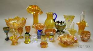 Twentytwo Pieces of Carnival Glass Tableware and Items