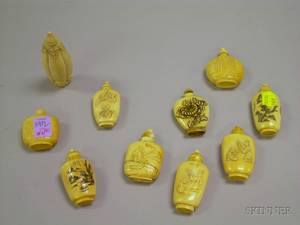 Ten Asian Carved Ivory Snuff Bottles